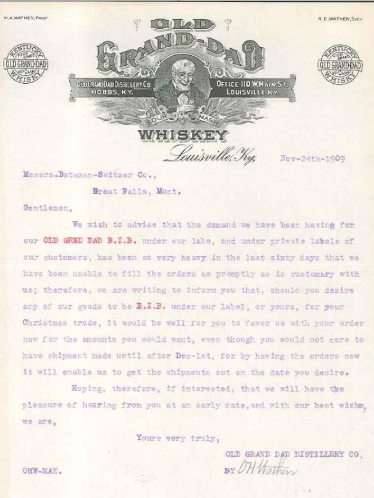 O.H. Wathen's letter dated 1909